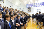 <p>Fr. Richard C. Hermes, S.J. celebrated Jesuit High School's first Mass of the 2016-17 school year, the Solemnity of the Assumption of the Blessed Virgin Mary, on Aug. 15, 2016. </p>